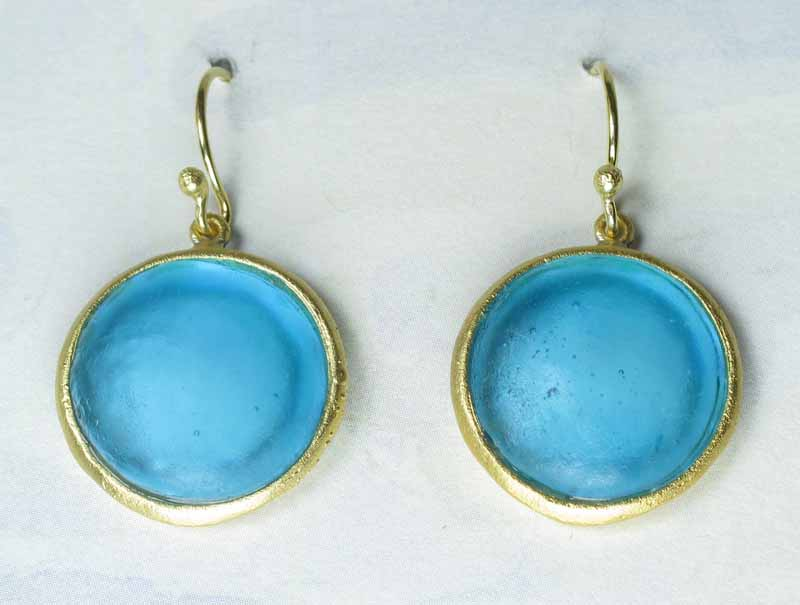 Round Cast Glass Drop Earrings in Turquoise